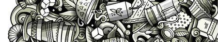 Tea hand drawn doodle banner. Cartoon detailed flyer.