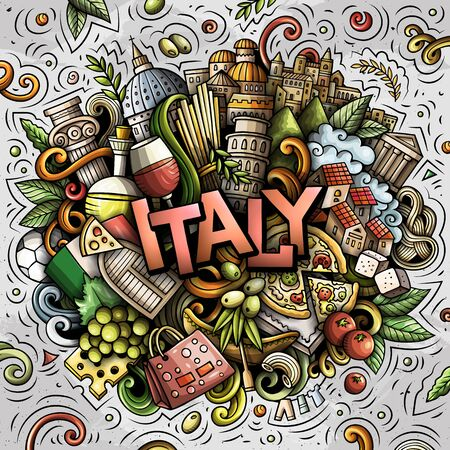 Italy hand drawn cartoon doodles illustration. Funny travel design. 矢量图像