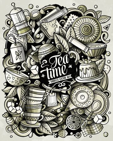 Cartoon vector doodles Tea illustration. Toned Cafe funny picture