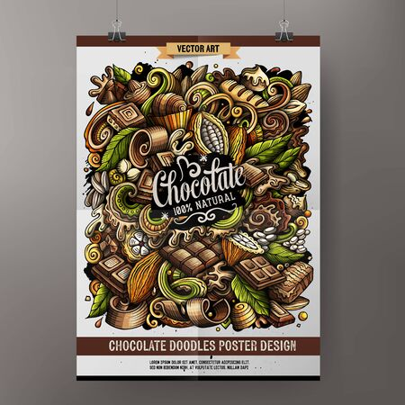 Cartoon colorful hand drawn doodles Chocolate poster Stock Illustratie