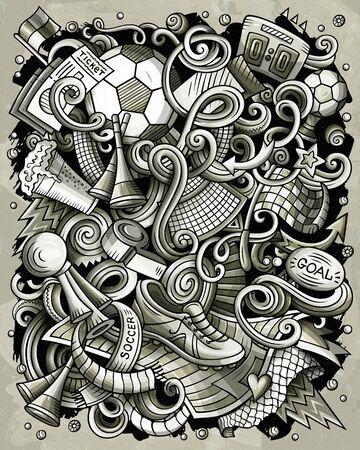 Cartoon vector doodles Football illustration Illusztráció