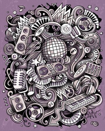 Cartoon vector doodles Disco music illustration. Toned musical funny picture Vettoriali