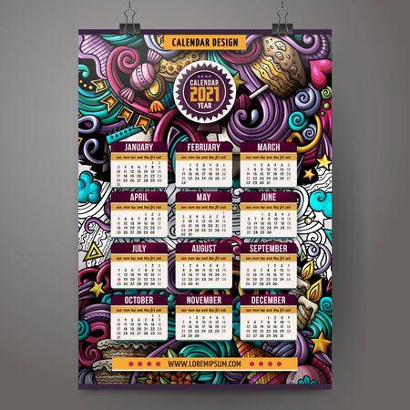 Cartoon colorful hand drawn doodles Holidays 2021 year calendar template. Ilustracja