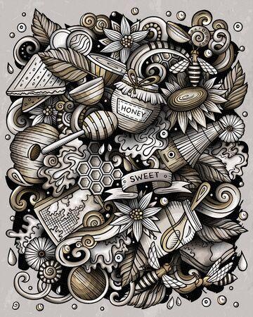 Cartoon vector doodles Honey illustration Illusztráció