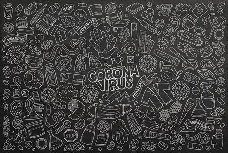 Doodle cartoon set of Coronavirus theme objects