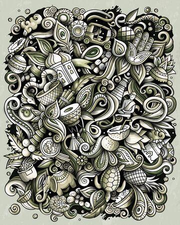 India hand drawn vector doodles illustration. Indian poster design. Illustration
