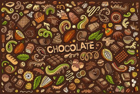 Vector doodle cartoon set of Chocolate theme items, objects and symbols