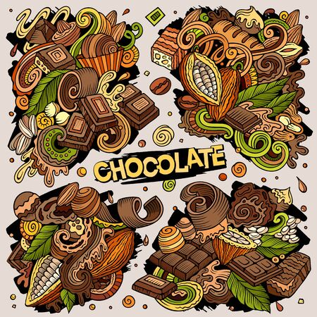Vector doodles cartoon set of Chocolate combinations of objects Ilustracja