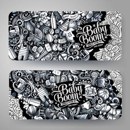 Baby vector hand drawn doodle banners design. Çizim