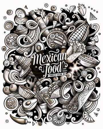 Mexican food hand drawn vector doodles illustration. Cuisine poster design.