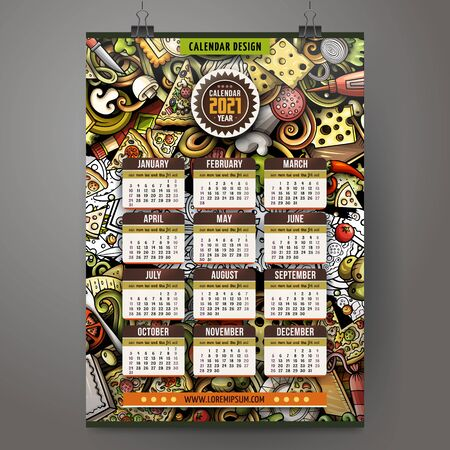 Cartoon colorful hand drawn doodles Pizza 2021 year calendar