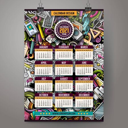 Cartoon doodles Design and Art 2021 year calendar template