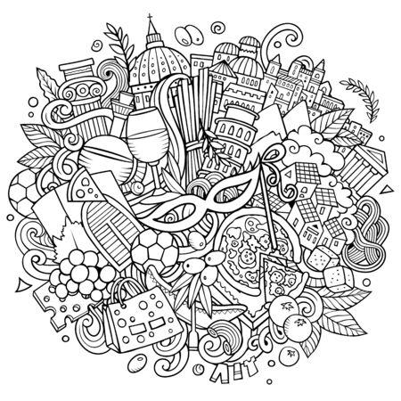 Italy hand drawn cartoon doodles illustration. Funny travel design.