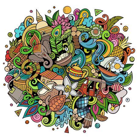 Sri Lanka hand drawn cartoon doodles illustration. Funny travel design.