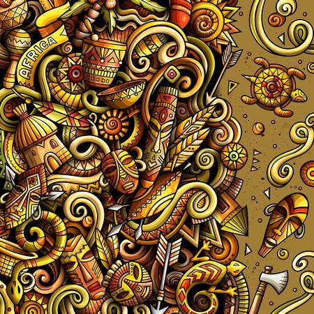 Cartoon doodles Africa illustration. Bright colors african culture funny border Vettoriali