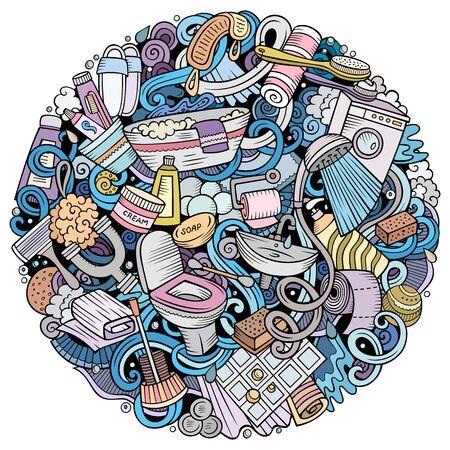 Bathroom hand drawn vector doodles round illustration. Bath room poster design