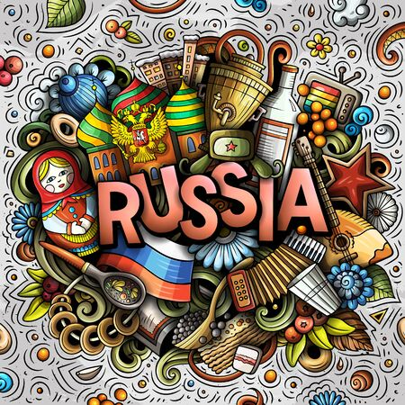 Russia hand drawn cartoon doodles illustration. Funny travel design.