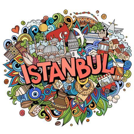 Istanbul hand drawn cartoon doodles illustration. Funny travel design. Vector Illustratie