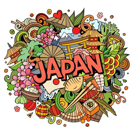 Japan hand drawn cartoon doodles illustration. Funny travel design.