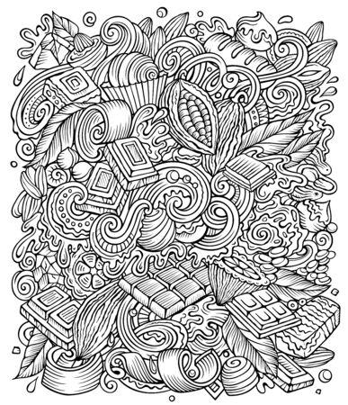 Chocolate hand drawn vector doodles illustration. Choco poster design Ilustración de vector