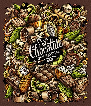 Chocolate hand drawn vector doodles illustration. Choco poster design
