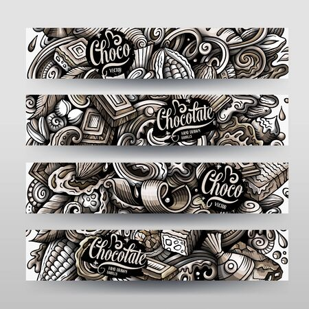 Chocolate vector hand drawn doodle banners design.