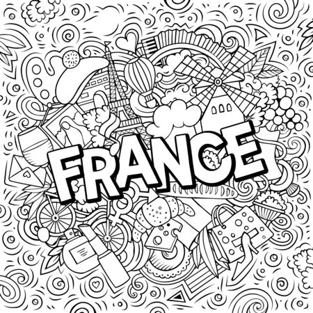 France hand drawn cartoon doodles illustration. Funny travel design.