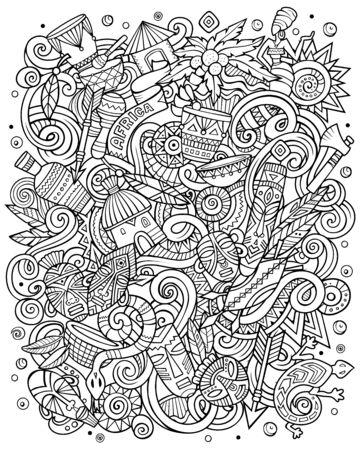 Cartoon cute sketchy vector doodles Africa illustration  イラスト・ベクター素材