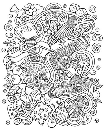 Cartoon vector sketchy doodles Italian Food illustration