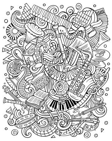 Cartoon vector doodles Classic music contour illustration Stock Illustratie