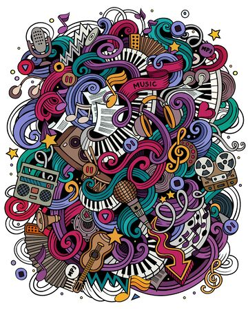 Music hand drawn vector doodles illustration. Musical poster design Ilustrace
