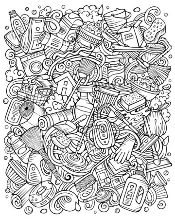 Cleaning hand drawn vector doodles funny illustration.