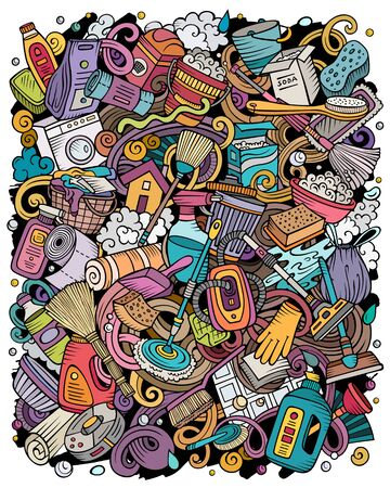 Cleaning hand drawn vector doodles illustration. Cleanup poster design. Clean elements and objects cartoon background. Bright colors funny picture Stock Illustratie
