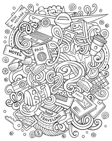 Travel hand drawn vector doodles illustration. Traveling poster design.