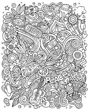 Hippie hand drawn vector doodles illustration. Hippy poster design. Ilustrace