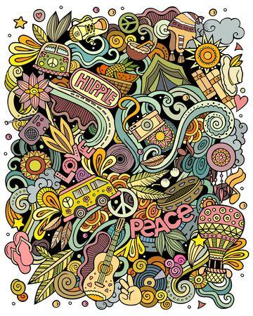 Hippie hand drawn vector doodles illustration. Hippy poster design.