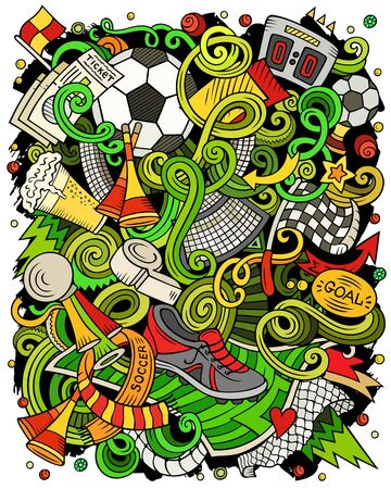 Cartoon vector doodles Football illustration. Soccer funny picture