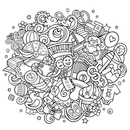 Baby hand drawn cartoon doodles illustration. Vector background. Illustration