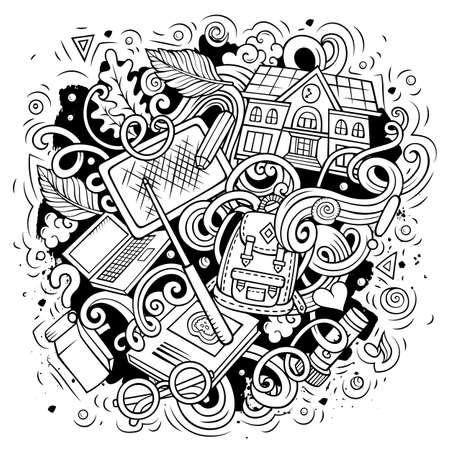 Cartoon cute doodles Back to School sketchy illustration