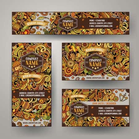 Corporate Identity vector templates set with doodles African theme