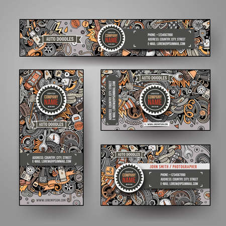 Corporate Identity vector templates set with doodles Automotive theme