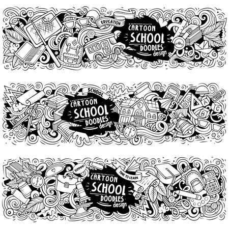 Cartoon cute colorful vector hand drawn doodles School horizontal compositions Illustration
