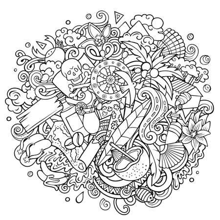 Haiti hand drawn cartoon doodles illustration. Funny design. Illustration