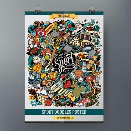 Cartoon colorful hand drawn doodles Sports poster Ilustración de vector