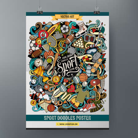 Cartoon colorful hand drawn doodles Sports poster Vector Illustration