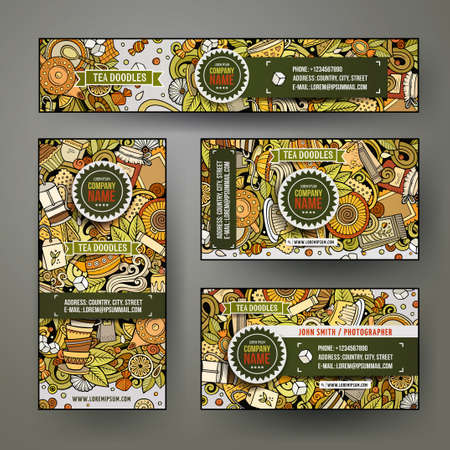 Corporate Identity vector templates set with doodles Tea time theme