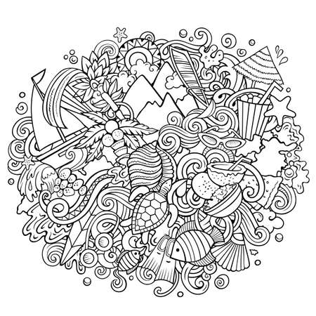Mauritus hand drawn cartoon doodles illustration. Funny travel design.