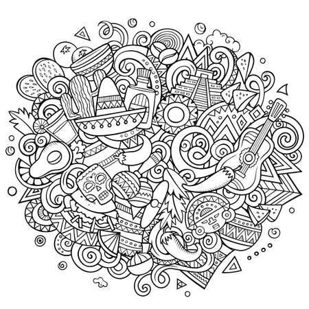 Mexico hand drawn cartoon doodles illustration. Funny design.