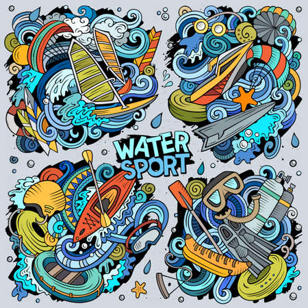 Vector hand drawn doodles cartoon set of Water Summer sport combinations