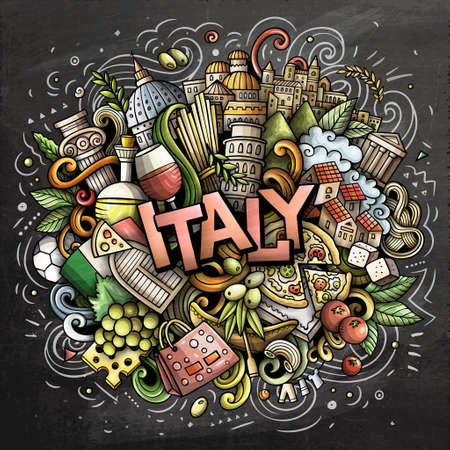 Italy hand drawn cartoon doodles illustration. Funny travel design. Illustration
